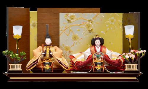 【月 華】金銀糸で鳳凰柄刺繍の施された正絹西陣織の親王。変則の重ね屏風は個性的ながら、衣裳とのバランスや全体の調和をとり洗練されたデザイン。静岡家具職人による木地塗装はインテリアにもマッチする仕上がり。