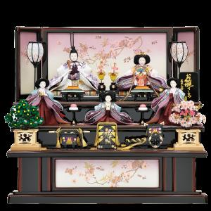 【花がすみ】 台と屏風には桜の刺繍が施され、コンパクトな五人飾りの中にも上品さが際立っています。