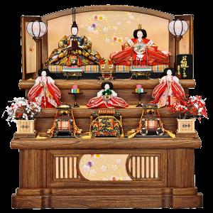 【花丸桜】 桐の台に本金通しの華やかなお人形が、紅白梅のお花で引き締まります。 手の込んだ造りの高級なお道具を使用しております。