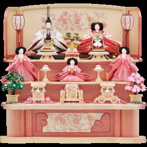 【陽 菜】 パールピンクのオリジナル飾台に三人官女まで揃った可愛らしいお飾りです。