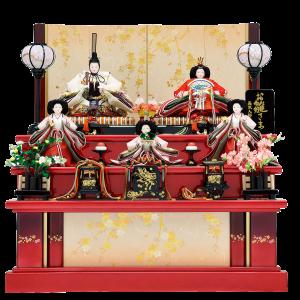 【金彩桜】 赤グラデーションが目を惹く三段飾り。屏風と幕板には、和紙に金・銀に彩った桜の絵柄を施し、 左右には散りばめた小さな桜が、可愛いポイントになっています。