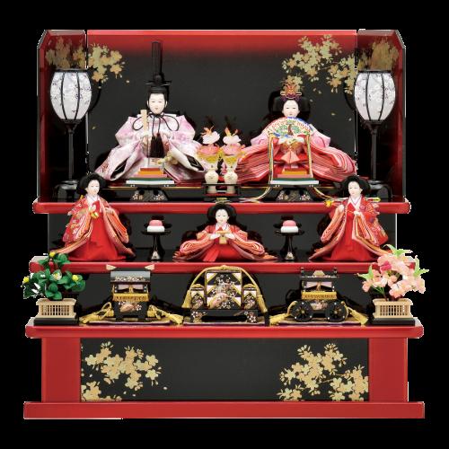 【紅 櫻】大変コンパクトな三段飾り。黒と赤のメタリック塗装と金彩で描かれた月と桜がお人形を引立たせます。