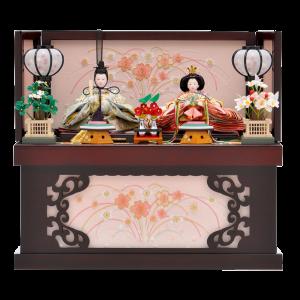 【桜尽くし】 コンパクトな収納飾り。 人形には金彩と刺繍を施し、可愛らしい仕上がり。