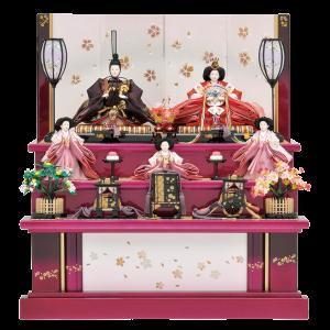 【紫 宴】 紫グラデーションが目を惹く三段飾り。屏風と幕板には、和紙に金・銀に彩った桜の絵柄を施し、 左右には散りばめた小さな桜が、可愛いポイントになっています。