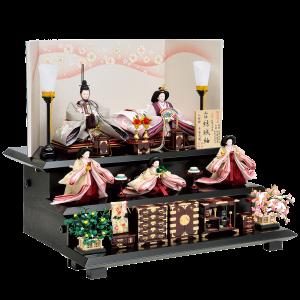 【夢 桜】 親王・官女共に結城紬使用のお人形。 細部にまでこだわった高級溜塗り塗装の嫁入り道具を使用。