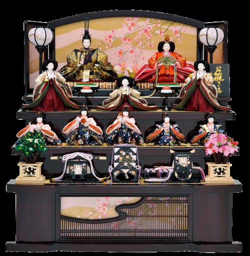 【優 美】 五人囃子まで揃った豪勢なお雛様。 十人飾りでも大きすぎず、スタイリッシュにまとまっています。