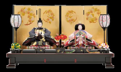 【慶 祝】金彩で金箔押花丸文様の施された屏風に、会津溜塗の飾台を合わせた、趣きのある平飾り。御道具も高級溜塗仕上げです。