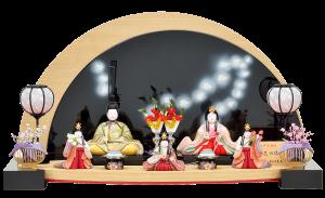 【花の御所】 人形は殿・姫に同柄の刺繍が施され、官女も動きのある手の込んだ造りとなっています。 半円形の衝立が目を引く個性的な木目込飾り。