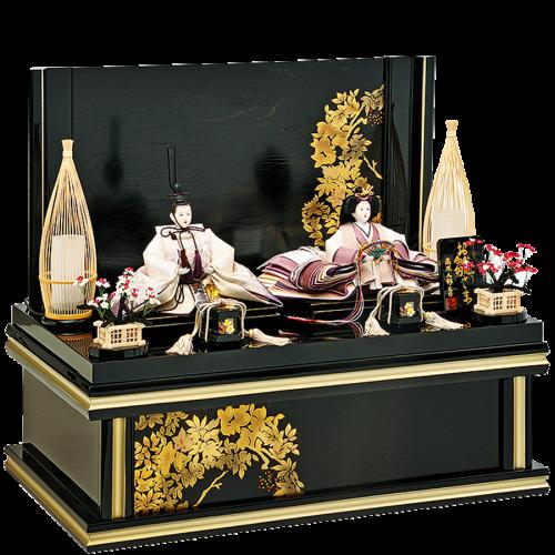 【紫 苑】 袖のグラデーションが美しく、刺繍の施されたお人形。 特徴的な駿河竹千筋細工の行灯を使用。 全体を黒でまとめ、お人形の美しさが際立ちます。