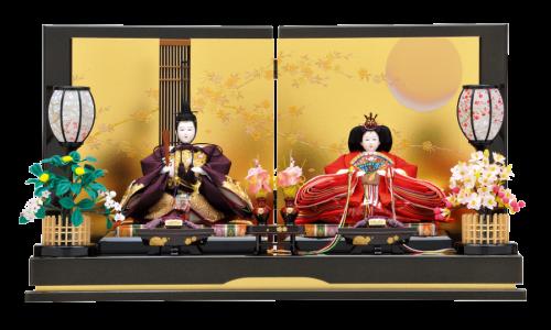 【月 桜】上品に黒の金ラメが施された台屏風。金彩で描かれた月と桜柄に駿河竹千筋細工を合わせた粋な平飾り。飾台の横に走る金ラインもアクセントに。