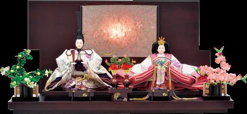 【八坂飾】 飾台は落着いた古民家をイメージし、後ろから白熱灯の光を通しているため、和モダンな雰囲気を演出します。
