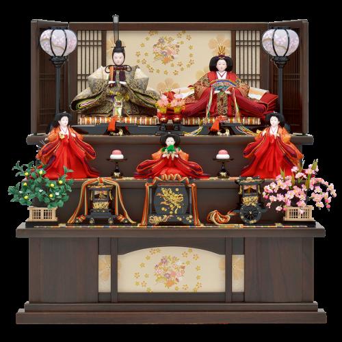 【松菊桜】 桐オーク塗りの台屏風に合わせ豪華な三段飾りです。親王は宗の時代の最高級茶碗である「耀変天目」をイメージした独創的な色合いの西陣帯地を着用。