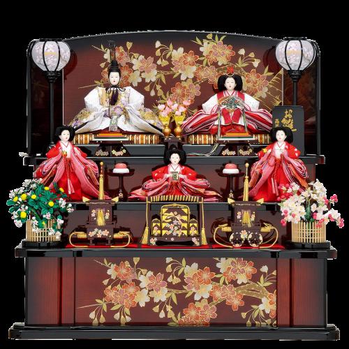 【桜花祥】 白を基調とした金彩刺繍桜の人形に、茶色のグラデーションの桜柄屏風を合わせた優美で洗練されたデザイン。 特徴的な丸井垣の桜橘を使用しております。