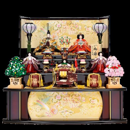 【利 久】 親王は金襴地に手描きの金彩と螺鈿細工仕上げ。 飾台・屏風は京都で着物をイメージした金彩加工を施してあり華やか。 お道具は駿河雛道具を使用し、手描による本金蒔絵も施された豪華仕様。