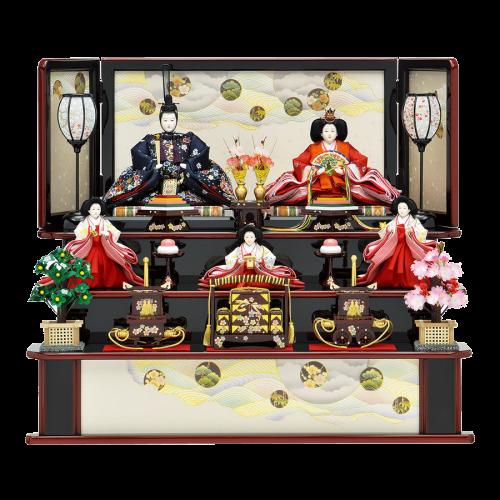 【八千代】古典的な波と花丸文柄に趣があります。赤と黒溜塗のコントラストが粋な三段飾り。