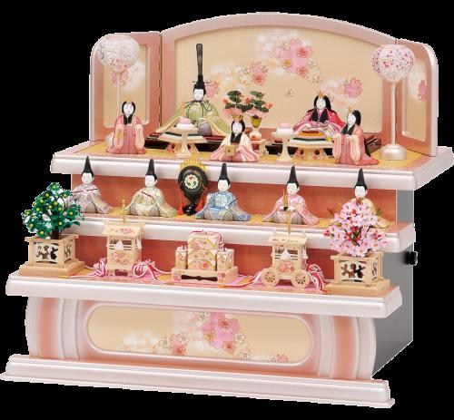 【春の香】 全体に春のイメージを漂わせた木目込十人飾り。 台・屏風は、パールピンクのぼかし塗装に桜刺繍を施し、可愛らしい仕上がり。
