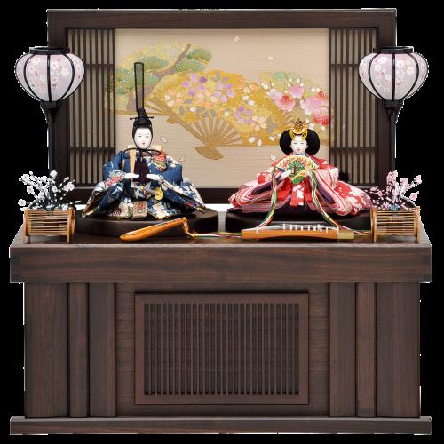 【花 扇】 衝立式の収納飾り。 お道具は琵琶と琴を使用した個性的な仕上がり。